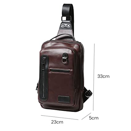 Amazon.com : iVotre Brand New Backpack for Men Crazy Horse PU Leather Shoulder Sling Bag Fashionable and Utilitarian Cross Body Bag for Traveling, Camping, ...