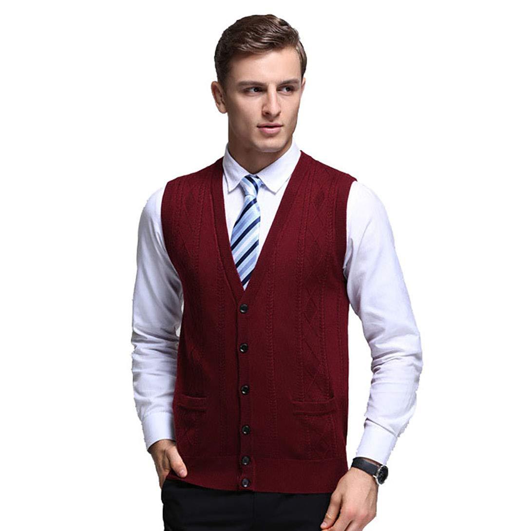 Men V-Neck Gilet Sleeveless Vest Waistcoat Business Gentleman Knitwear Cardigans Knitted Sweater Tank Tops