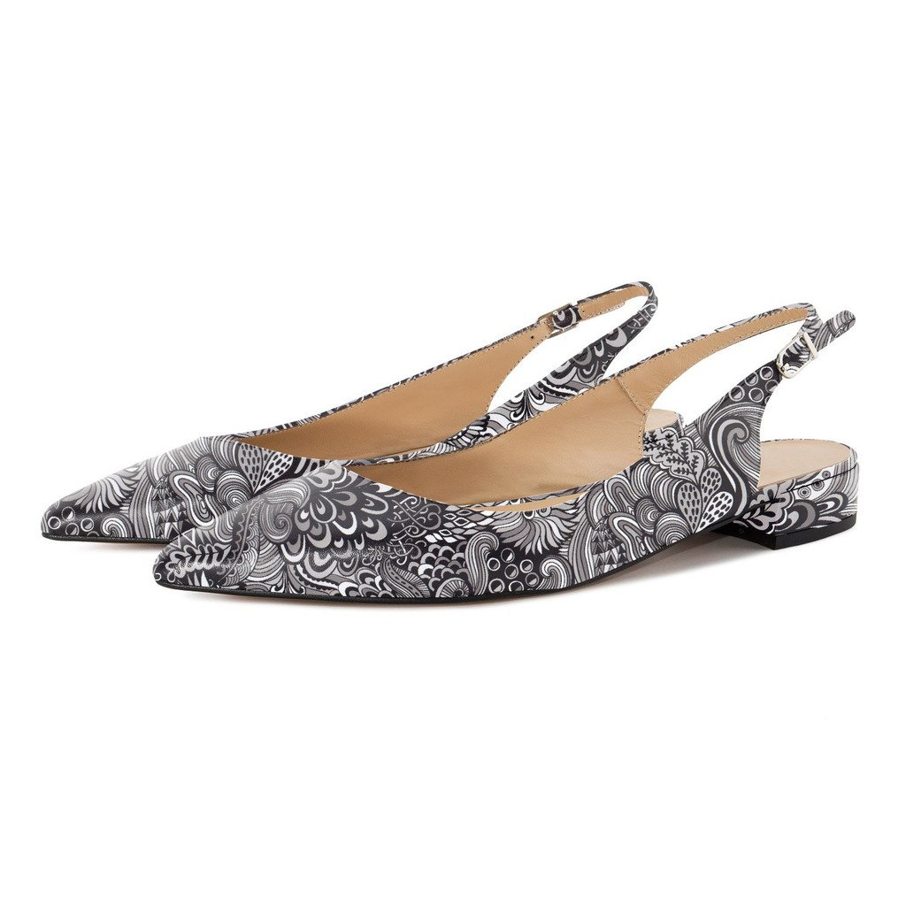 Eldof Women Low Heels Pumps | Pointed Toe Slingback Flat Pumps | 2cm Classic Elegante Court Shoes B0732VZLM7 12 B(M) US|Flower-gray