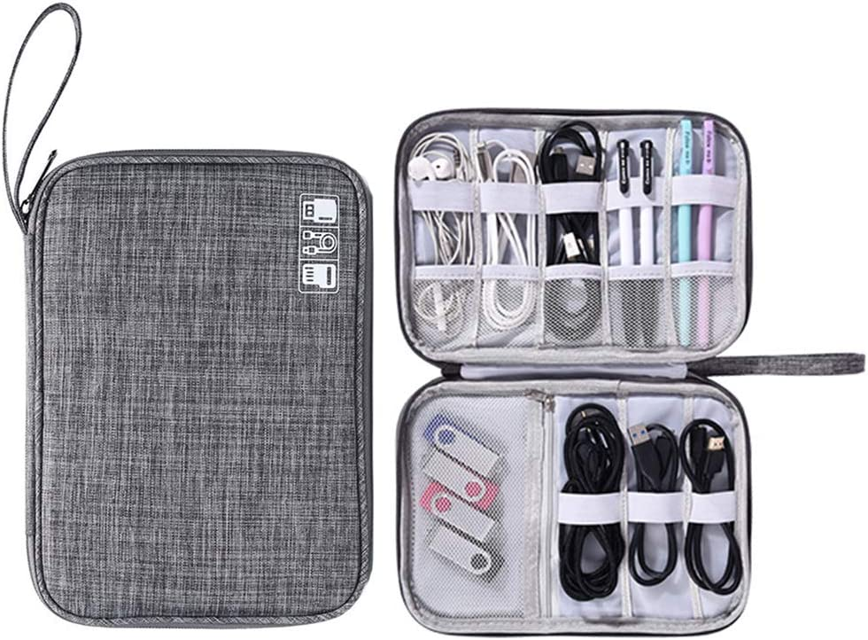 Muyasea Electronic Organizer Waterproof Carrying Cases Electronics Accessories Travel Cases for Cables Calculator Customize Inside with Dividers A-Red