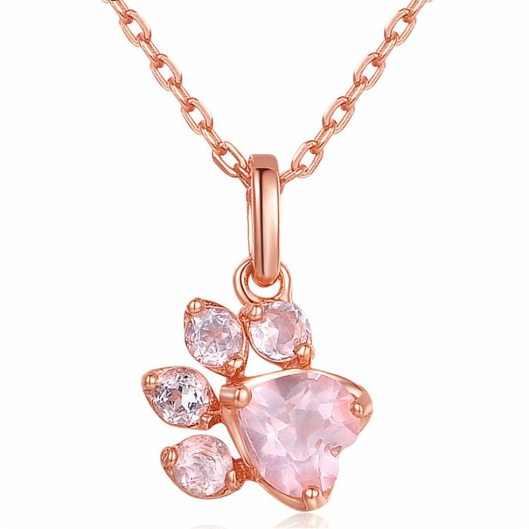 Clearance! Cute Paw Pendant Necklace with Pink Crystal Rose Gold Plated Jewelry for Women Girls Animal Lovers (Rose Gold)