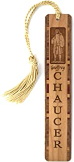 product image for Geoffrey Chaucer English Poet - Portrait and Name, Engraved Wooden Bookmark with Tassel