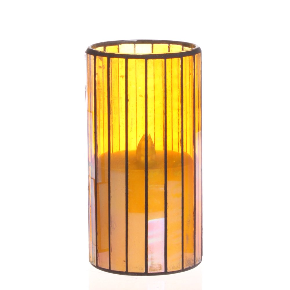 Home Impressions Vertical Stripes Pattern Glass Flameless Pillar Led Wax Candle