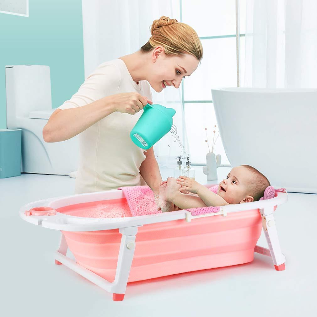 Fascol Ba/ñera Plegable para Beb/és 0-36 Meses Rosa Ba/ño Bebe con Red de Seguridad Longitud de La Piscina para Beb/és 82 cm