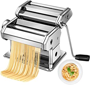 Pasta Maker Machine Hand Crank - Stainless Steel Roller Cutter Manual Noodle MakersMaking Tools Rolling Press Kit Kitchen Accessories Best for Homemade Noodles Spaghetti Fresh Dough