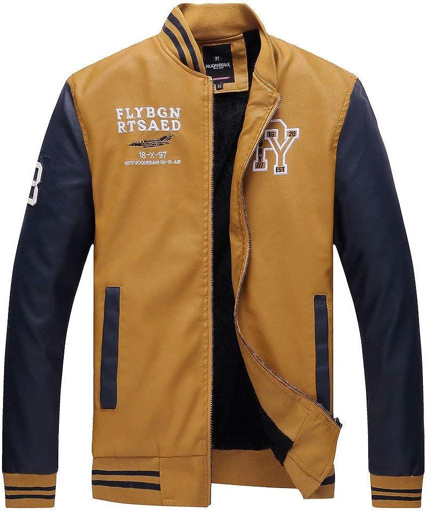 BaZhaHei Uomo Top,Uomo//Signori//Ragazzi PU Pelle College Baseball Jacket Felpa Motociclista Giacca Giubbotto Manica Lunga Jacket Top