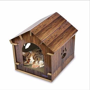 Cat Casa Simulación Madera Grano Corrugado Papel Cat Gato Arañazos Gato Abrigo Gato Cama Gato Mascota Suministros 40.6 * 40.2 * 40Cm,Brown: Amazon.es: Hogar