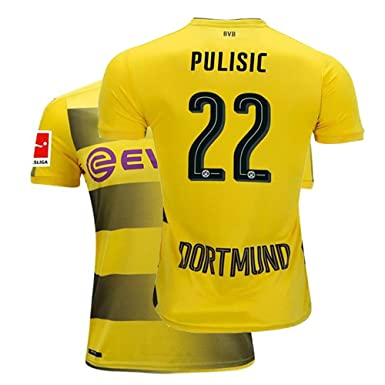 7b3686cd83b Fcdraon Mens Pulisic Jersey 2017/18 Borussia Dortmund Christian 22 BVB Home  Adult Soccer Yellow