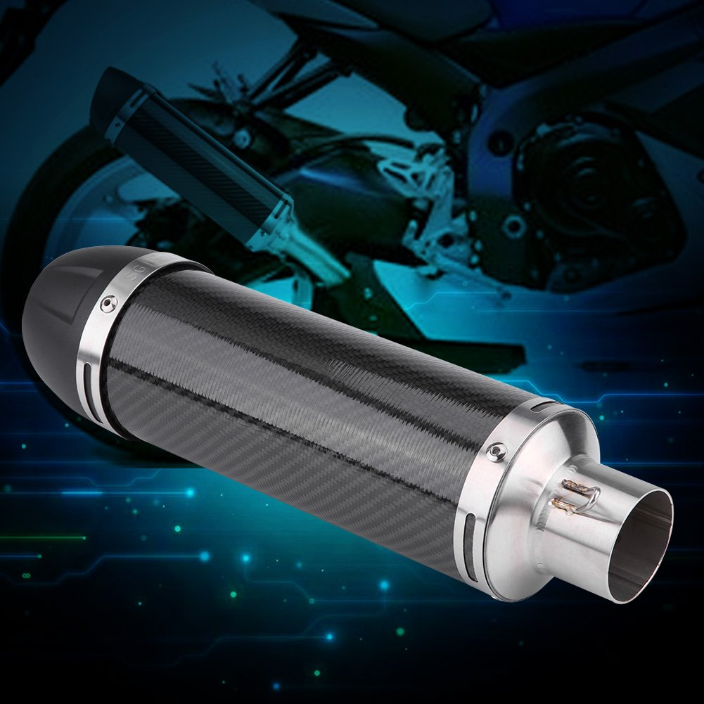 Qiilu 51mm Universal Motorcycle Modified Real Bright Carbon Fiber Exhaust Muffler Pipe with DB Killer