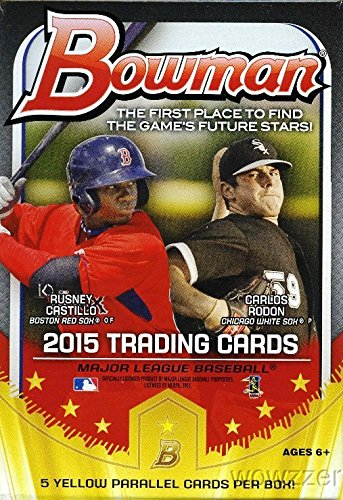 2015 Bowman Rookie Baseball - 2015 Bowman MLB Baseball EXCLUSIVE Factory Sealed Hanger Box with 35 Cards including 5 SPECIAL YELLOW PARALLEL Cards ! Look for Rookie Cards and Autographs of all the Top MLB Draft Picks!