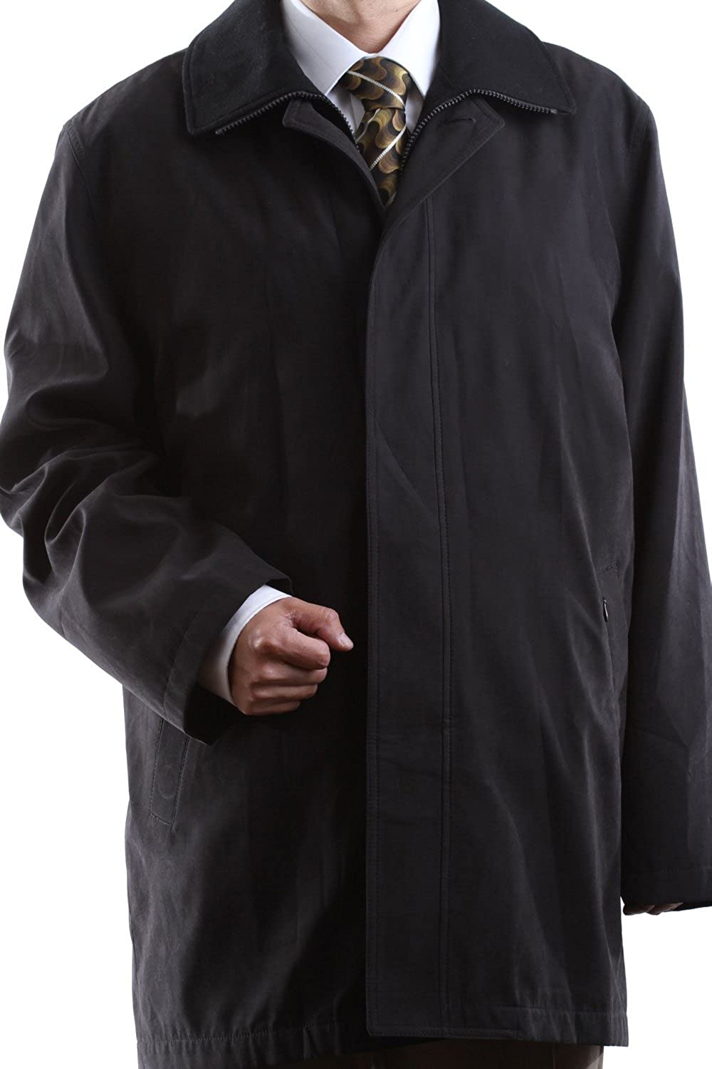 Cianni Men's Single Breasted Black 3/4 Length All Year Round Raincoat