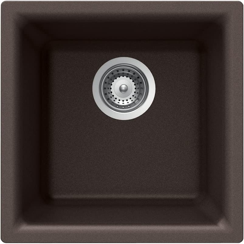 Houzer E-100 MOCHA Quartztone Series Granite Dual Mount Bar Prep Sink, Mocha