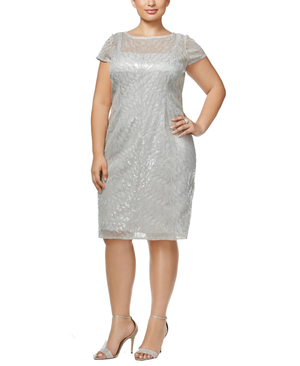 Adrianna Papell Plus Size Sequined Illusion Sheath Dress