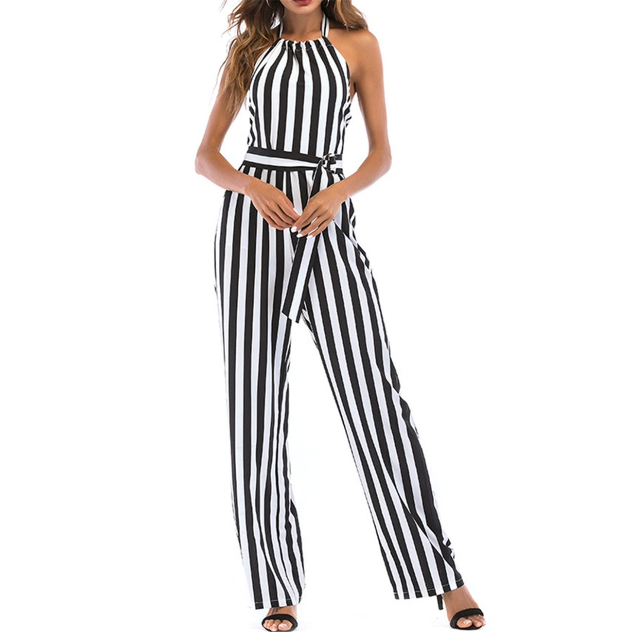 YHBAO Women's Summer Casual Striped Long Pants Jumpsuit Sleeveless Rompers (Samll, Black)