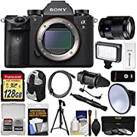Sony Alpha A9 Wi-Fi 4K Digital Camera Body with 24-70mm f/4.0 ZA Lens + 128GB Card + Backpack + Flash + Tripod + Filters Kit