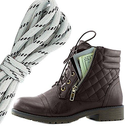 Botas De Combate De Hebillas Con Cordones Militar Para Mujer DailyZapatos Bolsillo De La Tarjeta De Crédito Exclusivo De Tobillo Con Altas, Gris Negro Marrón Pu