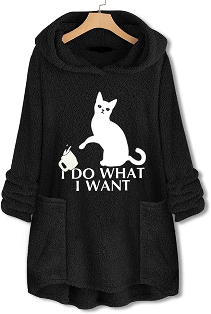 KANGMOON Women Fleece Embroidery Cat Ear Hoodie Pullover Plus Size Tops Sweatshirts Blouse with Pocket