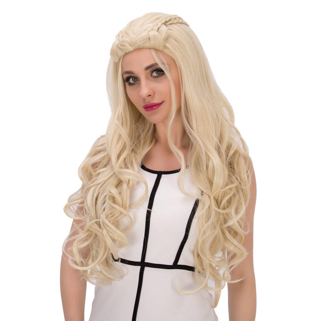 Amback largo rizado trenzado estilo Cosplay peluca rubia para Daenerys Targaryen Khaleesi: Amazon.es: Belleza