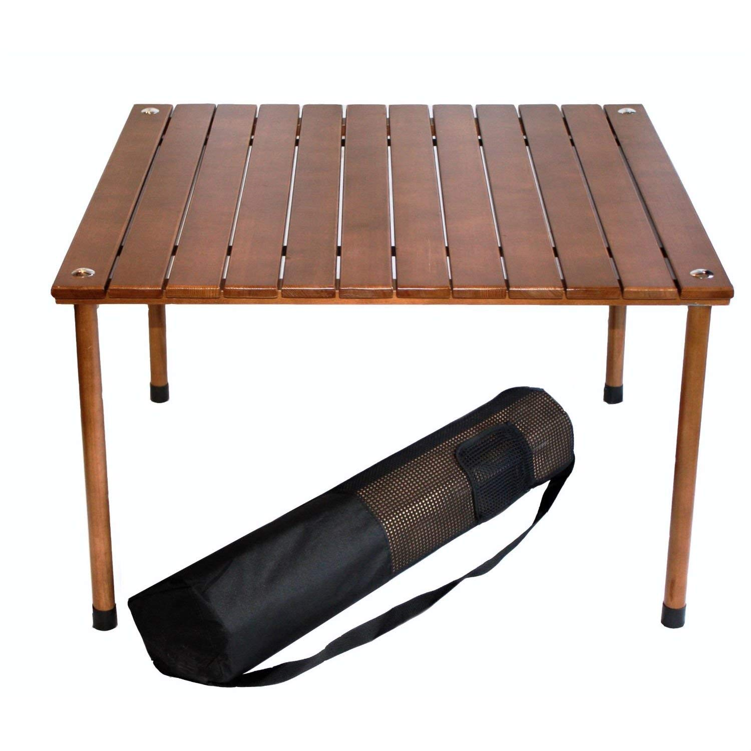 StarSun Depot Portable Patio Table with Brown Solid Wood Top and Carry Bag