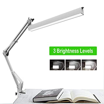 Lámpara de Escritorio LED, lámpara de Trabajo de Arquitecto, Brazo de oscilación de Metal Lámpara de Mesa de Dibujo Regulable con Abrazadera Plegable ...