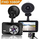 ORSKEY Dash Cam Front and Rear 1080P Full HD Dual Dash Camera in Car Camera Dashboard Camera Dashcam for Cars 170 Wide Angle