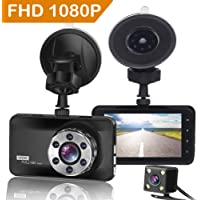 "ORSKEY Dash Cam Front and Rear 1080P Full HD Dual Dash Camera In Car Camera Dashboard Camera Dashcam for Cars 170 Wide Angle HDR with 3.0"" LCD Display Night Vision Motion Detection and G-sensor"