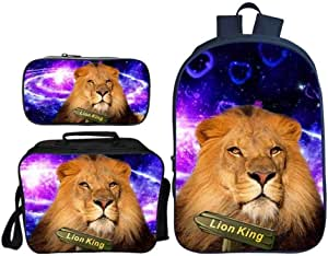 Asdfnfa Backpack Children's Three-Piece Suit 3D Printing Starry Sky Lion King Primary School Bag with Lunch Bag and Pencil Case (Color : 2)