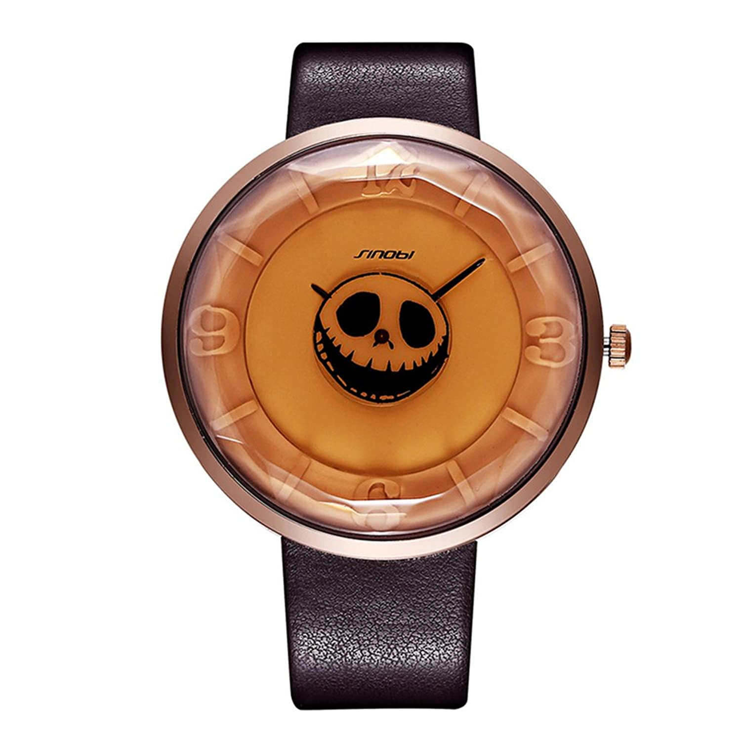 Amazon.com: Sheli Designer Skull Women Hippies Watch Oversized Face Gift for Festival: Watches