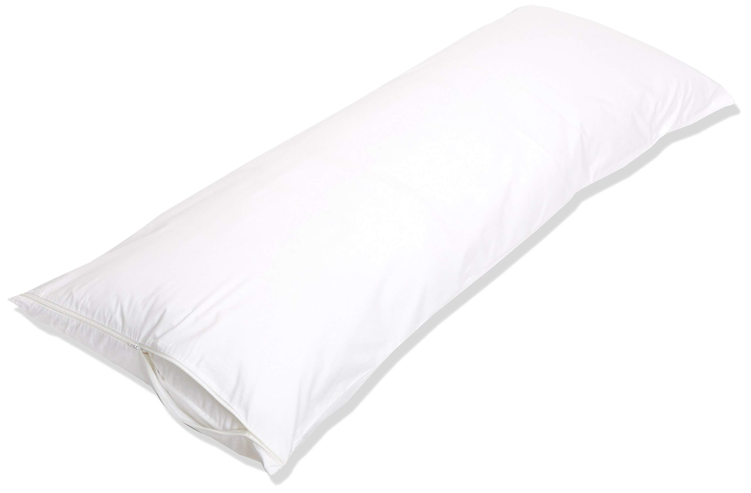 Amazon Basics 100% Cotton Hypoallergenic Pillow Protector Case - Body, White