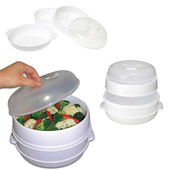 Amazon.com: 2 nivel microondas olla vaporera verduras arroz ...