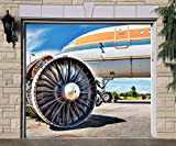 Aircraft Single Garage Door Covers Door Garage Decor Billboard 3D Effect Print Full Color Banner Airplane Mural Made in the USA Size 83 x 96 inches DAV166