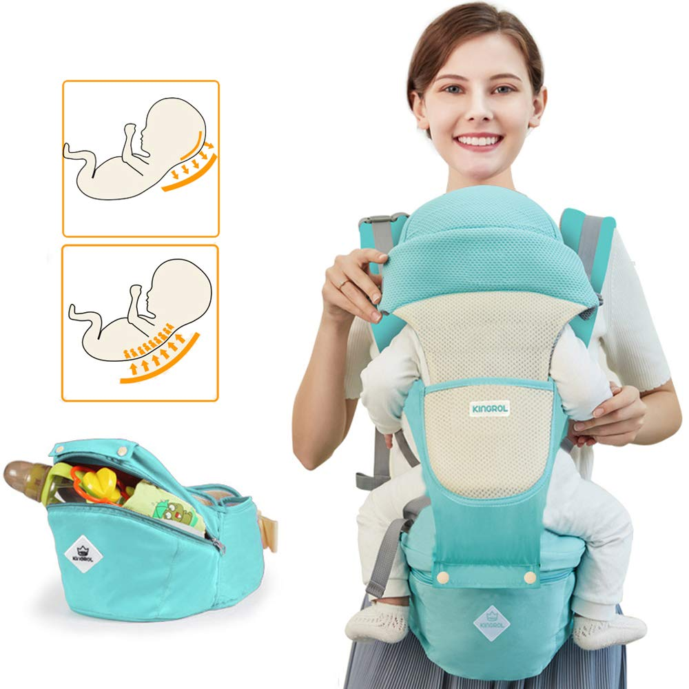 Baby Carrier Sling All Carry with Hip Seat 360 All Carry Positions Award-Winning Ergonomic Baby Seats Green