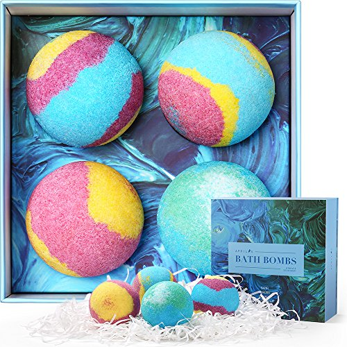 4 Pack Bath Set - Aprilis Bath Bombs Gift Set, 5.5 Oz Luxurious Bath Bomb Kit with Essential Oils, Lush Spa Floating Fizzies, Rich and Colorful Bubbles, Pack of 4