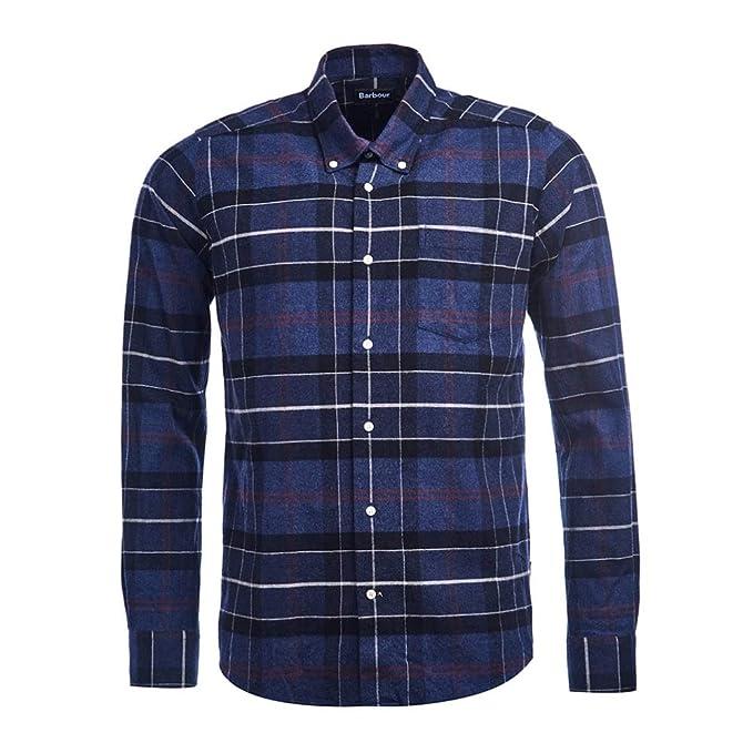 Barbour BACAM2388-MSH LustleLeight Chek Shirt Tailored Camisa de Franela de algodón 100% para Hombre Button Down con Bolsillo Regular Fit Blue Check: Amazon.es: Ropa y accesorios