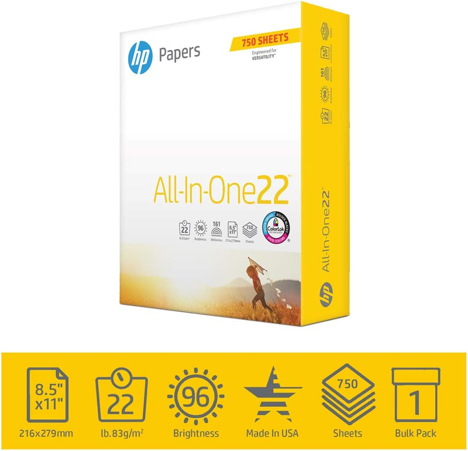 HP Printer Paper 8.5x11 AllInOne 22 lb 1 Bulk Pack 750 Sheets 96 Bright Made in USA FSC Certified Copy Paper HP Compatible 208850R