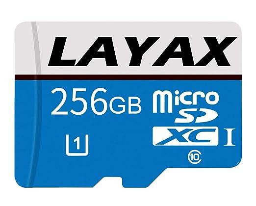 LAYAX - Tarjeta de Memoria microSDXC de 256 GB con Adaptador SD Class 10, Resistente al Agua