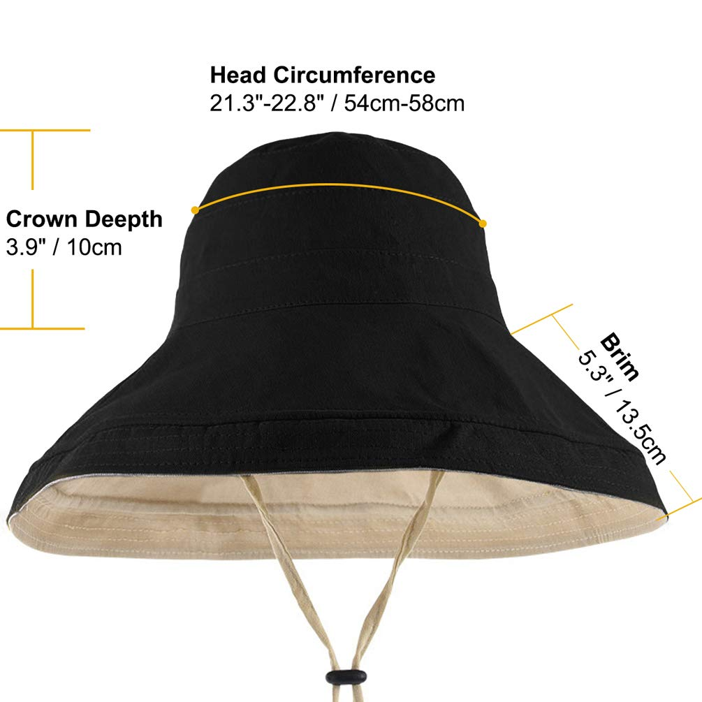 Maylisacc Cappello da Donna Cappello Reversibile da Sole Cappellino da Spiaggia Pieghevole e Portatile da Pescatore con Cinturino a Strappo UPF 50 da Donna