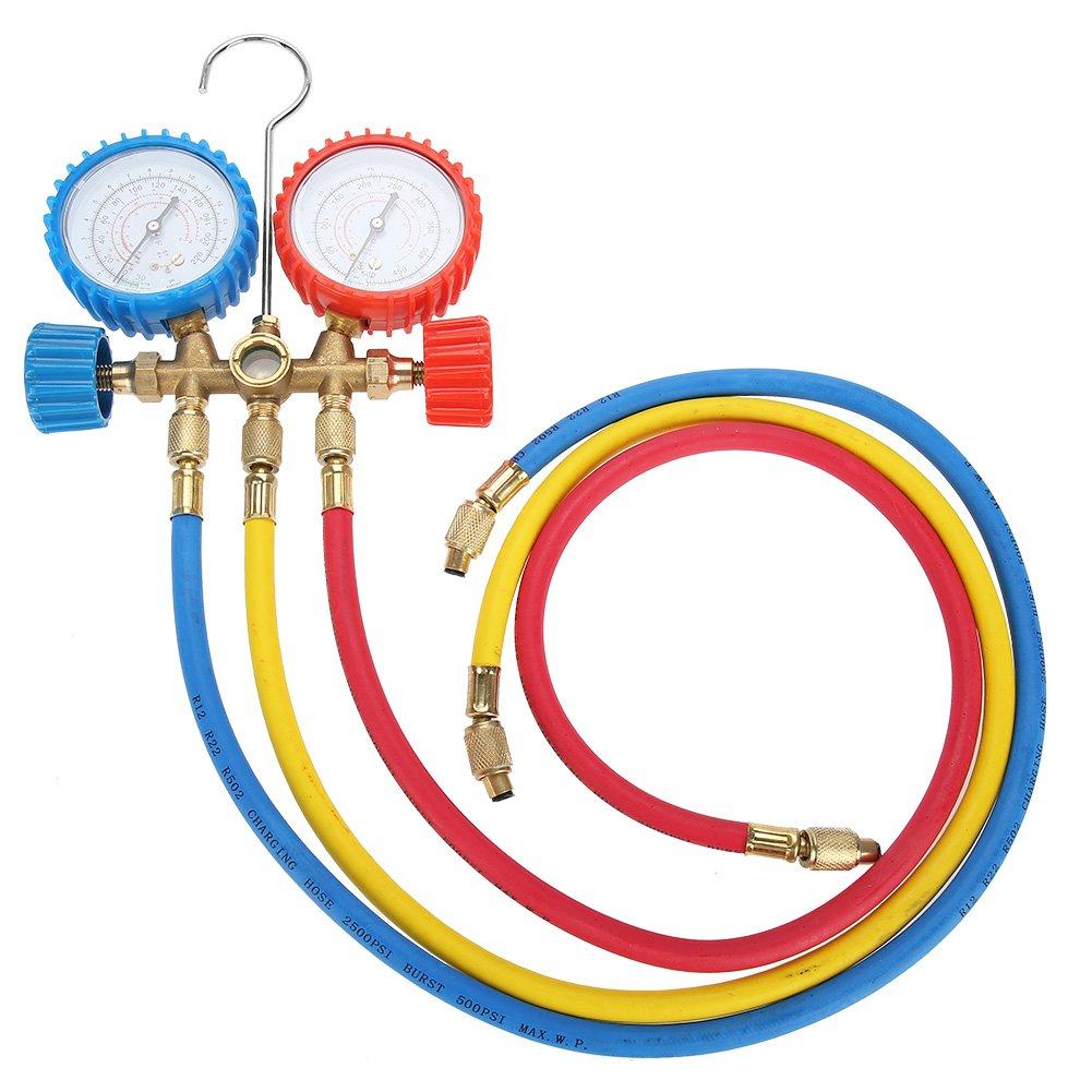 AC Conjunto de man/ómetro de diagn/óstico con manguera y gancho para los refrigerantes R12 R22 R502 Aire acondicionado herramientas refrigerantes de coche