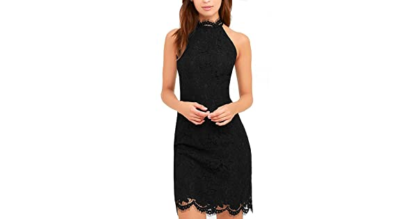 c0b1bdf7c Zalalus Lace Dress, Elegant High Neck Sheath Black Cocktail Dresses for  Women Wedding Party US 4