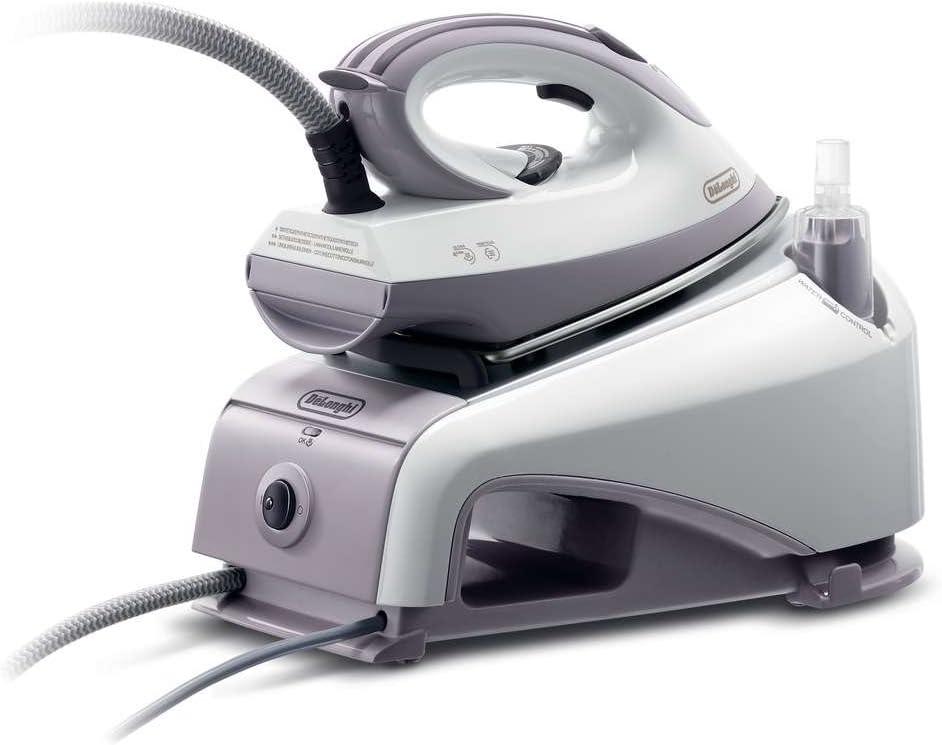 De'Longhi VVX1420 - Centro de planchado, 2200 W, 0.85 L, acero inoxidable, blanco/morado
