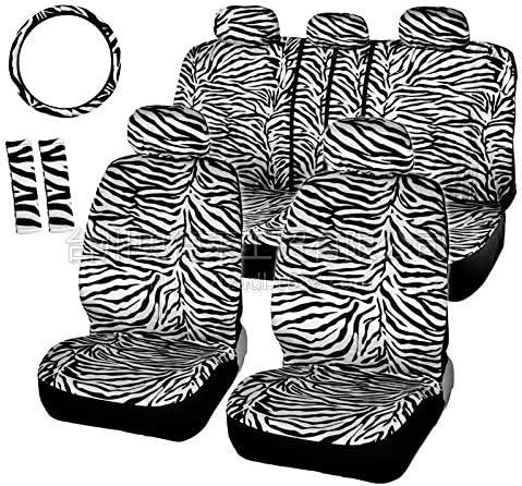 OUYAWEI Auto Parts 12PCS//Set Luxury Zebra Pattern Seat Cover Steering Wheel Cover Set