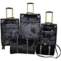 Track Softside spinner luggage Set of 5 pieces -Black