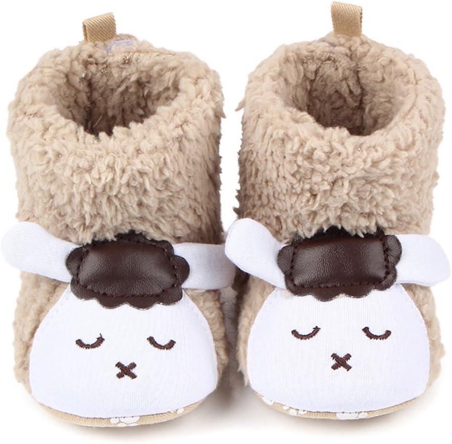 TININNA - Botas de peluche para bebé - diseño de animales - suela suave y antideslizante., Khaki sheep, 13cm for 9 to 12 months baby