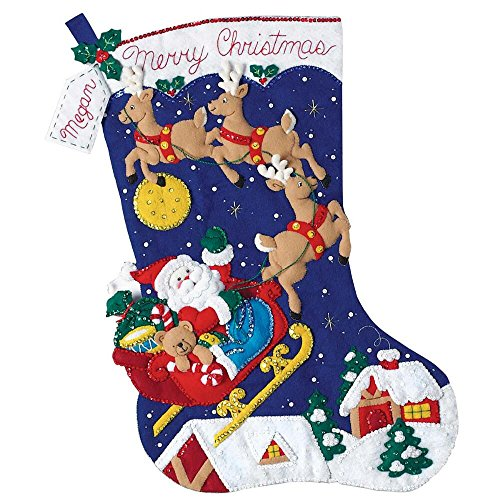 "Christmas Night Jumbo Stocking Felt Applique Kit-28"" Long"