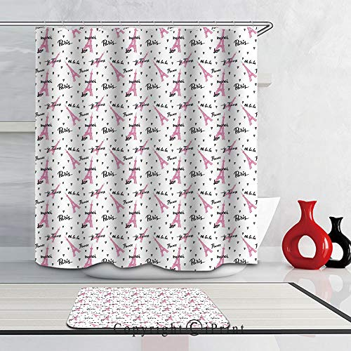 Abstract Art Waterproof Polyester Fabric Shower Curtain Hooks and Bath Mats Rugs for Bathroom,(66