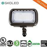 """GKOLED 30W LED Floodlight, Outdoor Security Fixture, Waterproof, 100W PSMH Replace, 3000 Lumens, 4000K Cool White, 70CRI, 120-277V, 1/2"""" Knuckle Mount, UL-listed and DLC Qualified, 5 Years Warranty"""