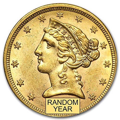 1839 - 1908 $5 Liberty Gold Half Eagle AU (Random Year) G$5 About Uncirculated