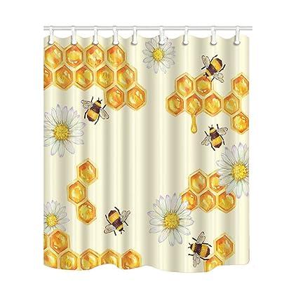 Amazon KOTOM Bee Decor Shower Curtain Honey And Daisy