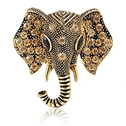 Retro Crystal Elephant Brooches for Women