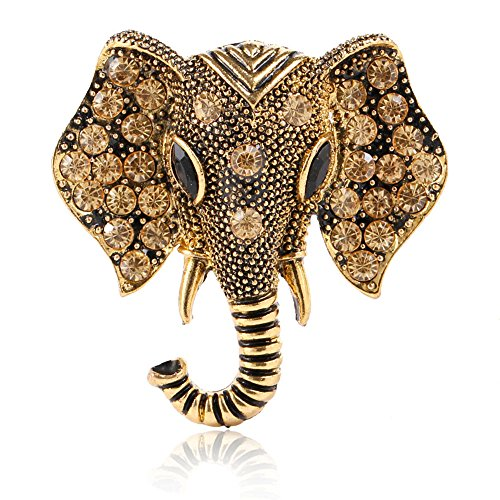 - MINGHUA Retro Crystal Elephant Corsage Brooches Women Dress Accessories